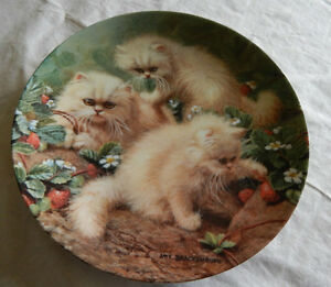 Strawberries and Cream, Cream Persians Collector Plate