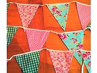 Pretty vintage style bunting- 16 flags, 4m long including ties. Double sided.