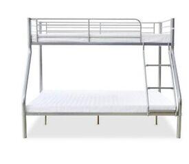 Silver metal triple sleeper bunk bed