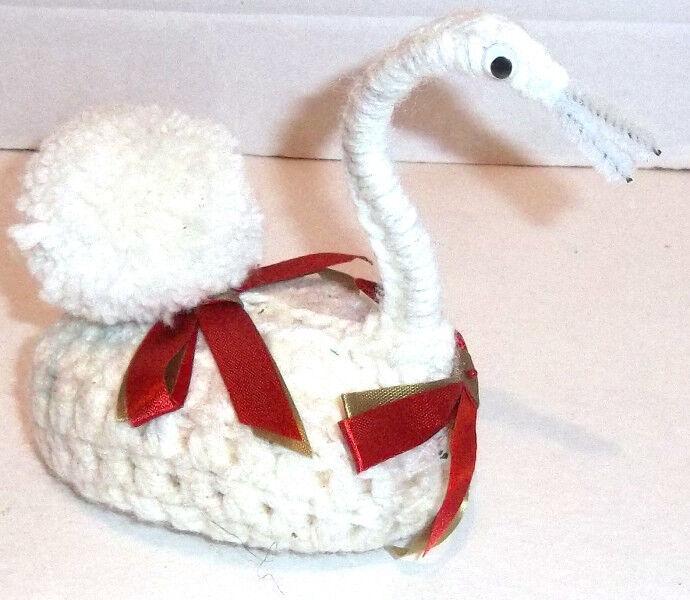 Handmade Crocheted White SWAN Soap Keeper Air Freshener with Ribbon