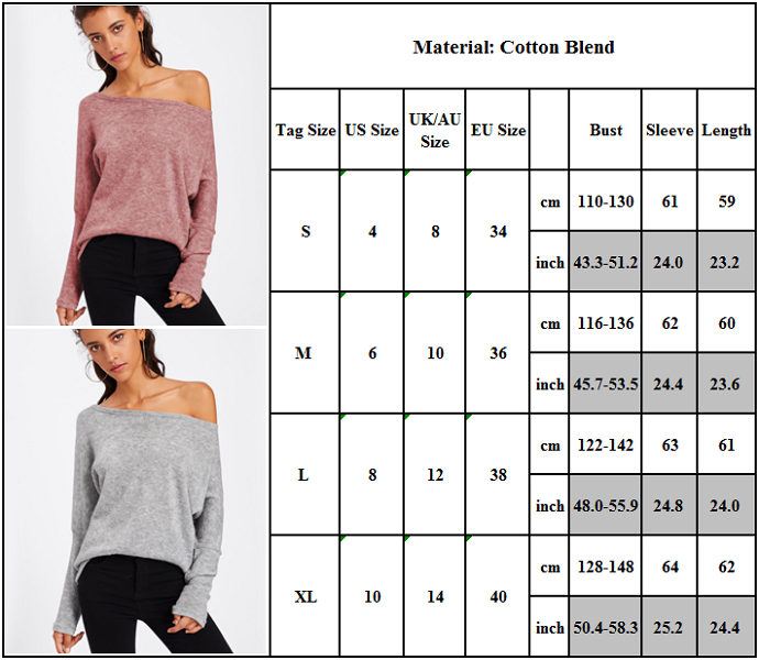 Women's Off Shoulder Knitted Sweatshirt Batwing Sleeve Loose Solid Sweater Top
