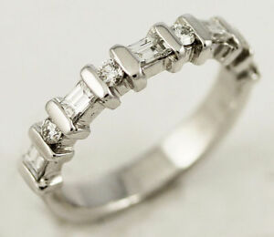 14k White Gold Diamond Band (round/baguette, 0.40/0.12) #261 Oakville / Halton Region Toronto (GTA) image 1