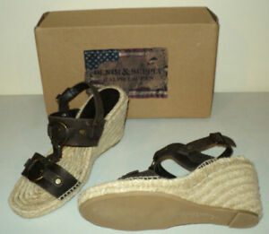 NEW Ralph Lauren Leather Strap Wedge Sandal-  size 9
