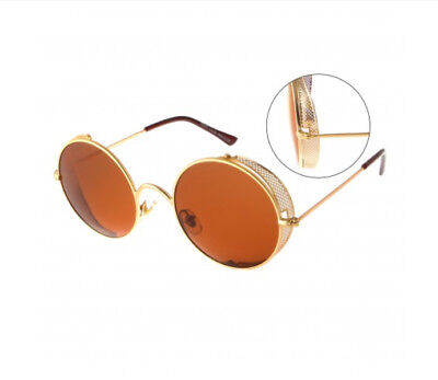 Round Thin Gold Color Frame Perforated Cover Sunglasses -Unisex Sunglasses-Brown