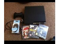 PlayStation slim, with controller and 3 games