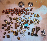Various new copper and brass plumbing parts