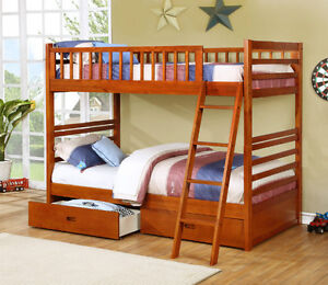 NEW! Twin/Twin Wood Bunk Bed w/ Storage Drawers, Free Delivery! Edmonton Edmonton Area image 3