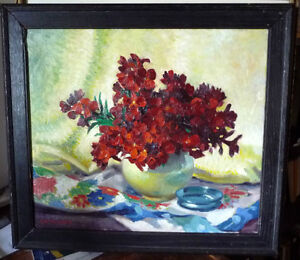 "Original, British Still Life by E. H. Mooney, ""Red Flowers"""