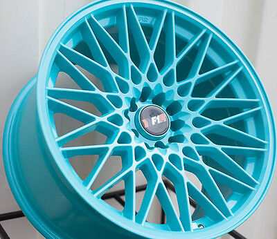 F1R F23 18X9.5 +20 5X114.3 TEAL WHEEL FIT 240SX RSX TSX CIVIC SI RX7 RX8 IS250