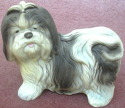 Shih Tzu Dog Figurine Black & White Ceramic Bisque