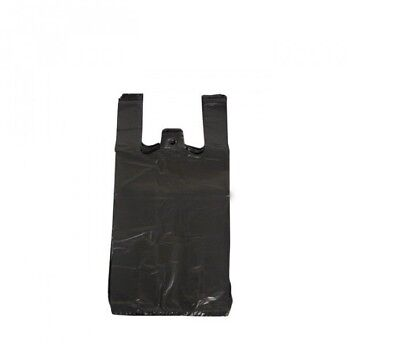 50 Plastic Vest Bottle Carrier Bags Black Strong Bags