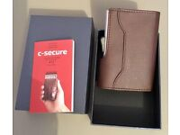 C-Secure men's new boxed wallet brown-blocks wireless scams