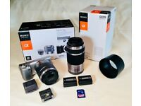 Silver Sony NEX 5N 16MP - Camera Bundle! Sony E mount - Immaculate!