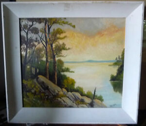 "Algonquin Original Oil Painting by R. Dogger ""Burning Sky"" 1950 Stratford Kitchener Area image 1"