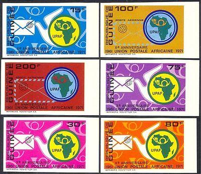 Guinea 1972 APU/African Postal Union/Letters/Pigeon/Bird 6v set imperf (n42939)