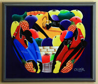 EEUC Large Custom-framed Oil Painting from the Dominican Repub.