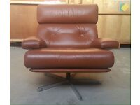 Vintage retro leather swivel chair