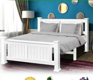 Brand New 2 Size White Wooden Queen Size Bed With Mattress Stab
