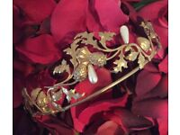 Gold Headdress Tiara with Thistles & Pearls