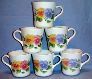 6 Beautiful Summer Blush by Corning Pansy Mugs