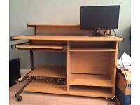 Sturdy wooden mobile pine desk with multiple shelves