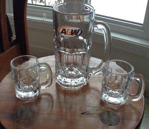 VINTAGE A&W ROOT BEER MUGS 2X4oz ET 1X20oz CANADA Gatineau Ottawa / Gatineau Area image 1