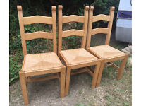 SET OF 3 SOLID WOODEN CHAIRS WITH WICKER BASE