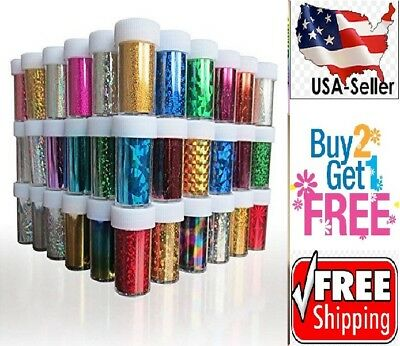 60 Colors Nail Art Stickers Tips Wraps Transfer Foil   Us Seller   Buy2get1free