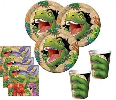 32 Teile Dinosaurier Party Deko Set für 8 Kinder Jurassic World Kindergeburtstag