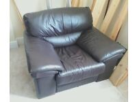 Luxuriously Comfy Brown Leather Sofa Arm-chairs | 1 Remaining