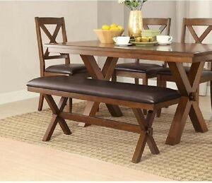 Rustic Dining Table Farm House Kitchen Farmhouse Trestle 2 Bench 3 Piece Set  New