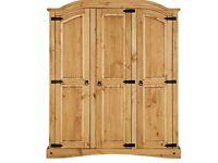3 door pine solid wood wardrobe