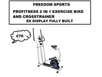 PROFITNESS 2 IN 1 EXERCISE BIKE AND CROSS TRAINER EX DISPLAY FULLY BUILT