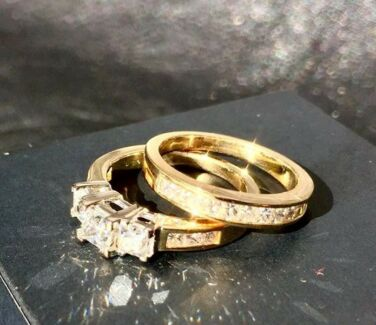 1.42ct Diamond Bridal Set RRP $6,498 - Yellow & White Gold 18ct
