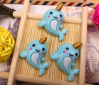 DIY 5-100pcs Narwhal whale 35X25MM Flatback Resin Cabochon Scrapbooking/Crafts