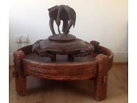 Large Indian Chakki spice grinder , coffee table ; ottoman pouffe
