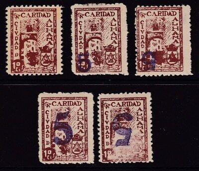 ESPAÑA - GUERRA CIVIL - ALHAMA - CARIDAD - EDIFIL 16-19-19i-20-20i