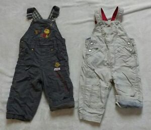 Two cotton jersey lined overalls size 12-18m