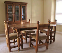 DINING SET & CHINA CABINET CRAFTED BY QUEBEC ARTISAN