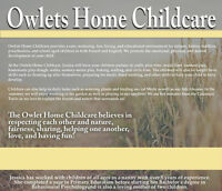 Part-time spot available at the Owlets Home Childcare in Napanee