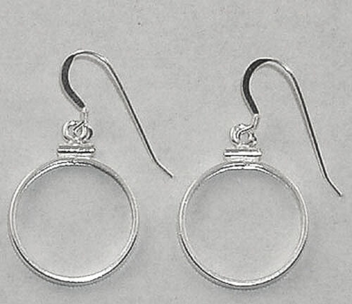 Coin Earring Findings for Cent, Nickel, or Dime Coins .925 Silver Bezels, Hooks
