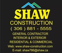 GENERAL CONTRACTOR, RESIDENTIAL & COMMERCIAL ,306 881 5555
