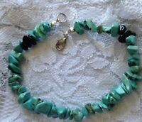 Turquoise and obsidian bracelet