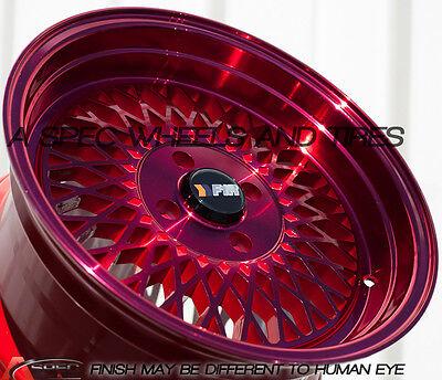 15X8 +25 F1R F01 4X100 RED WHEEL FIT CRX DEL SOL FIT CIVIC SI EK6 EK9 JDM MIATA