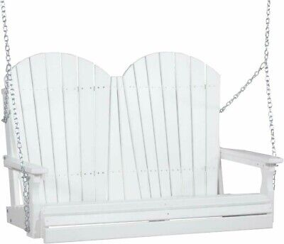 4 Ft Adirondack Outdoor Porch Swing *WHITE* Poly Lumber Wood-Recycled Plastic 4' Adirondack Porch Swing