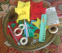 Large Lot of Knitting Bobbins and other notions, sewing needles
