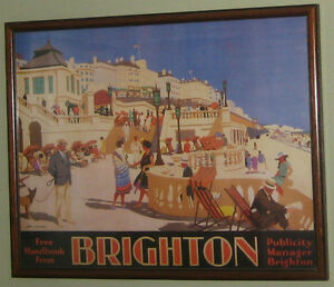 Pair of framed art deco British Rail travel posters to Brighton