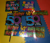 50th birthday party lawn signs and banners