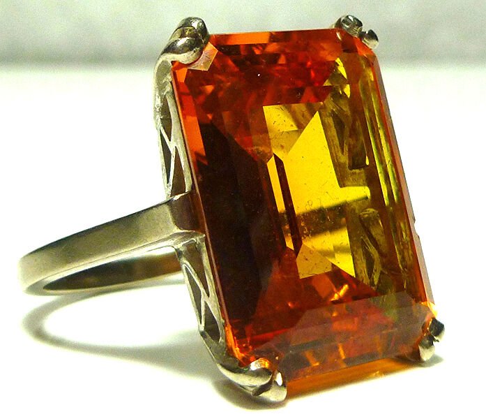 HEAVY CHUNKY 10K WHITE GOLD CITRINE CRYSTAL COCKTAIL RING X-LARGE BIG SIZE 6.5