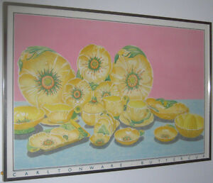 Framed print of collection of Carlton Ware Buttercup pattern